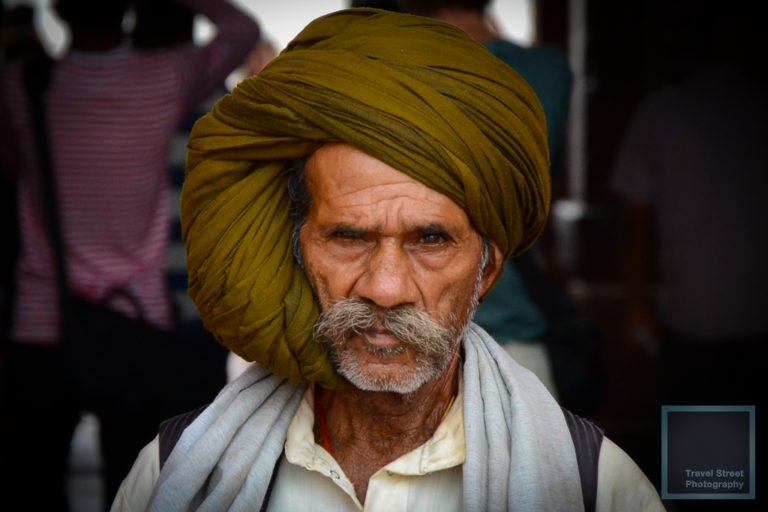 travel street photography white mustache olive green color turban agra india people portrait