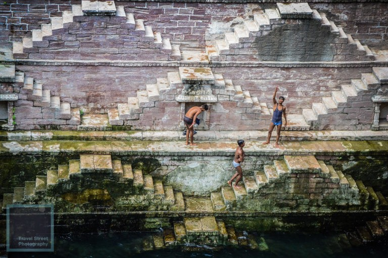 travel street photography bath time stepwell jodhpur india people
