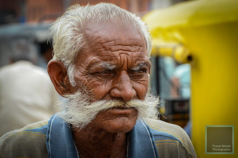 travel street photography man whith big moustache jaipur india people portrait
