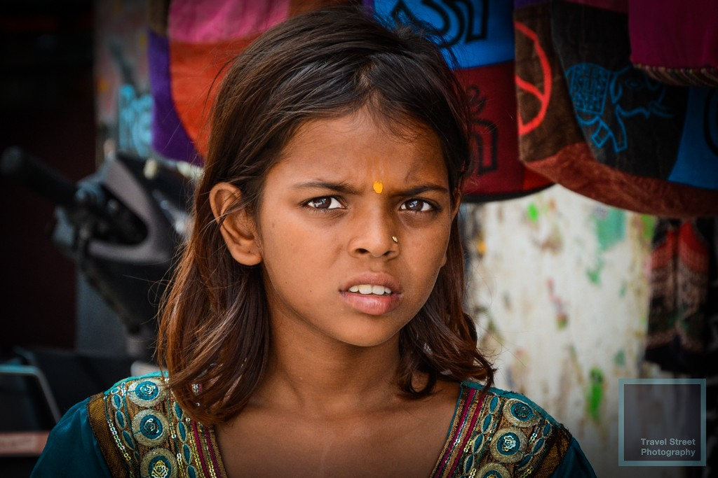 travel street photography teenage girl frowning rishikesh india people portrait