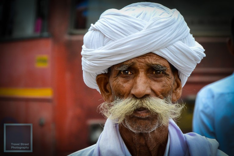 travel street photography white turban and white mustache jaipur india people portrait