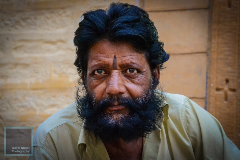 travel street photography hindu man with black beard jaisalmer india people portrait
